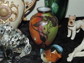 Sterling overlay art glass vase