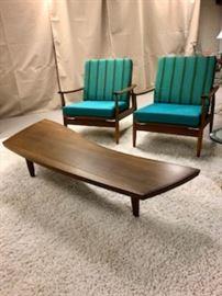 Original Widdicomb Nakashima Sundra Table.  Two MCM chairs with original fabric.