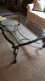 Kreiss French style iron coffee table with glass top.  See next photo for leg  detail.  Was $3000. Sale price $700