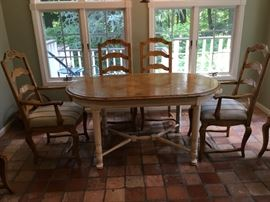 Guy Chadwick &Co. Bench made Table and 6 Chairs.            Matching Hutch