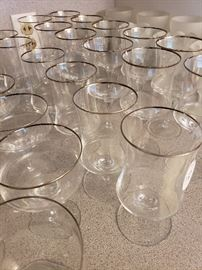 silver rimmed stemware
