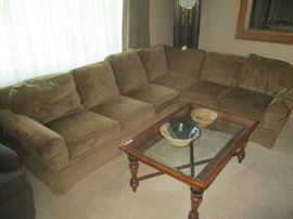 Sectional sofa with hide-a-bed, glass top coffee table
