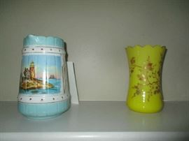 Yellow vase from England Circa 1860, and 19th century water pitcher