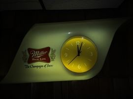 Miller High Life lighted working clock lighted sign