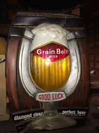 Vintage Grain Belt bubbler sign