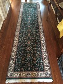 19. Indian Oriental Green and Ivory Wool Runner (2' x 10')