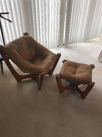 Odd Knutsen luna chair and Ottoman Danish Modern
