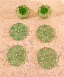 Pair of depression glass curtain tie backs
