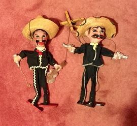Vintage Mexican marionette Poncho and Vea puppets