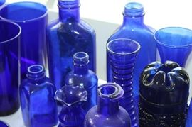 Around 50+ pieces of blue glass!