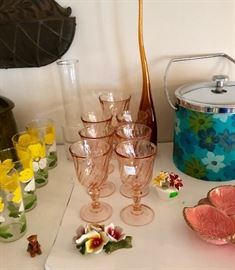 MID CENTURY TABLEWARE; GLASSES, DISHES, ICE BUCKET, PORCELAIN FLOWERS