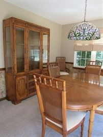 Stanley Cane Back and Bamboo Trim Dining Room Table (with leaf) and 6 Chairs, Stanley Bamboo Trim Hutch