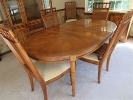 Stanley Dining Room Table (Bamboo Trim with Cane Back Chairs)