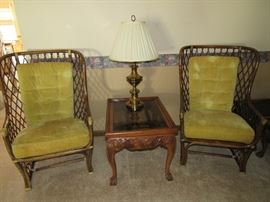 Classic Rattan with Lime Green Cushion Arm Chairs, Ashley End Table