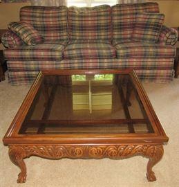 Ashley Coffee Table, Plaid Sofa