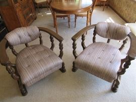 Traditional Barrel Chairs with Pin-Stripe Neutral Upholstery