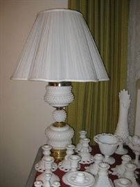matching pair of quality milk glass lamps