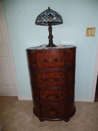 4 Drawer Luggage style cabinet w/map design on surface