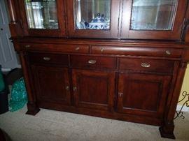 Bassett Furniture - Beautiful lighted dining room cabinet  w/silverware drawer - bottom view