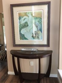 Barbara Wood Lithograph and Half Round Sofa Table with glass insert