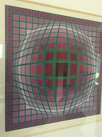 Victor Vasarely  Tit  al A  from the 3 piece Titan Suite 1985 Serigraph in color on Arches paper  Signed in pencil numbered