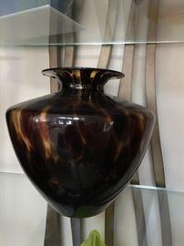 Czech Tortoise Art Glass Vase