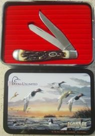 Schrade Ducks Unlimited USA Knife In Canvasbacks Ducks Tin Case - Mint Condition