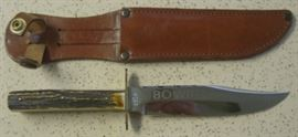 Bowie Knife w/Stag Handles Made By Olsen Knife Co. - Solingen Germany