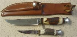 Vintage Kissing Crane Piggy Back Knife Set w/Stag Handles & Sheath - Made By Robert Klaas In Solingen Germany - Mint Condition