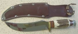Linder Bowie Knife w/Stag Handles & Sheath - Made In Solingen Germany - Mint Condition