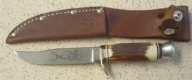 Vintage Kissing Crane Hunting Knife w/Stag Handles & Sheath - Made By Robert Klaas In Solingen Germany - Mint Condition w/Deer Portrait On Blade