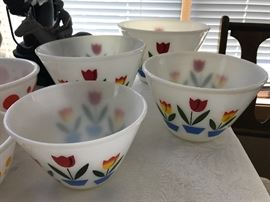 Vintage Fire King nesting tulip mixing bowls