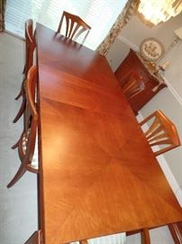 Ethan  Allen dining room table w/6 chairs and 2 leaves ---Perfect Condition - top view