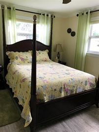 QUEEN 4 POSTER BED, SEALY QUEEN PILLOW TOP  MATTRESS SET WILL BE SOLD SEPARATELY