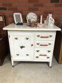 Antique Painted, Porc. Top Cabinet
