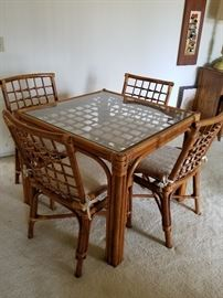 Vintage rattan table and chairs