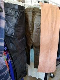 Vintage ultrasuede and leather pants. Fendi acid washed jeans