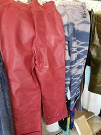Vintage red leather pants, Fendi jeans