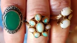sterling & jade, 2 super-fiery opal & 14k gold rings