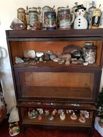 Old lawyer's book case, vintage beer steins, rocks & minerals