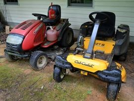 Troy-Bilt riding lawn mower; Cub Cadet RZT-S zero turn mower