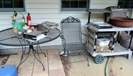 wrought iron patio furniture; potting station