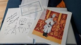 Guy Buffet - Famous Artist - Triptych.   Signed and numbered with certificate of authenticity.    Case is signed by artist with caricature as well as world renowned chef Jacque Peppin autograph