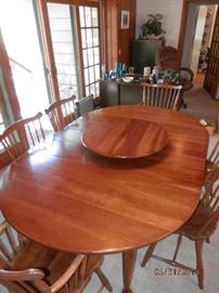 Another view of Stickley SOLID cherry wood table including matching Cherry wood lazy susan...also Stickley