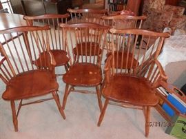 Leopold Stickley SOLID cherry wood chairs...scoop seats....with labels...1956