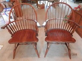 "Pair of matching  SOLID cherry wood ""Windsor"" arm chairs....scoop seats....No labels but they reek of ""Stickley"""