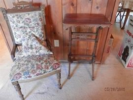 Eastlake Chair and complimenting table....chair upholstered with nice floral tapestry....fine needlepoint