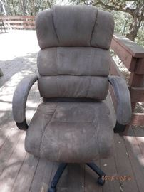 "Nice gas filled reclining office chair with that ""Tough as Nails"" upholstery."