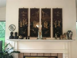 Asian Oriental Wall Screens, Anniversary Clock, Collectible pieces