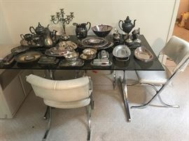 Modern Glass Top Dining Set, Silverplate silver plated pieces